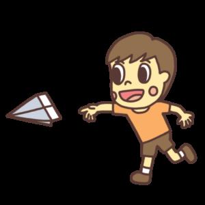 紙飛行機を飛ばして遊ぶ子どものイラスト