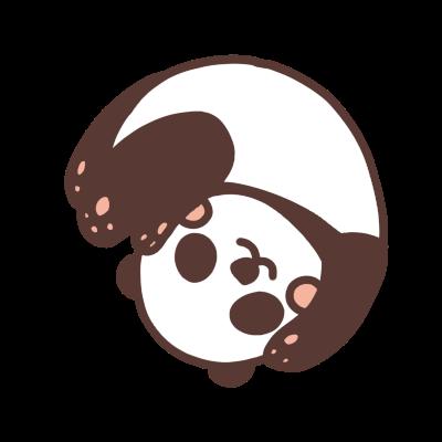 転がるパンダのイラスト