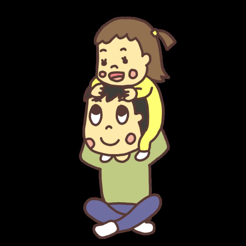 肩車をして遊ぶ親子のイラスト