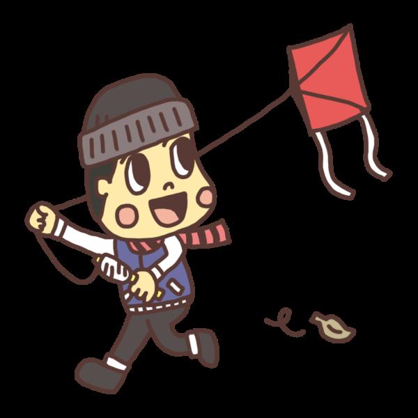 凧をあげて遊ぶ子どものイラスト