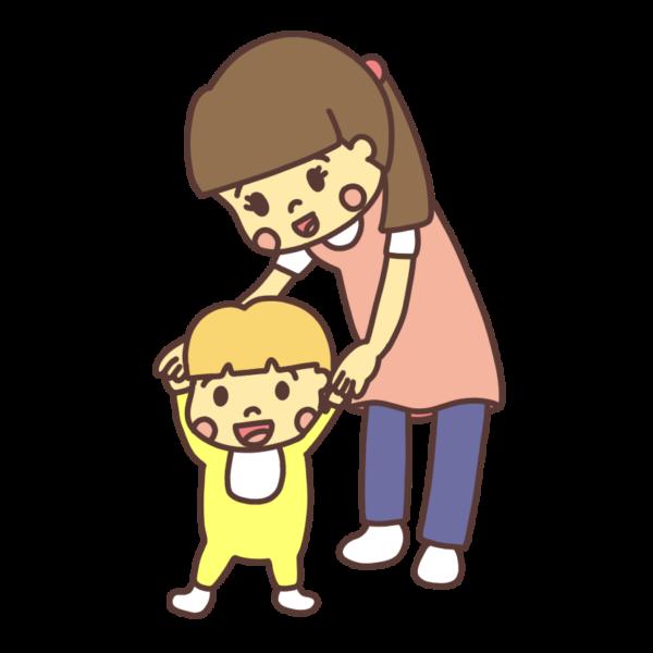手を持たれて歩く幼児のイラスト