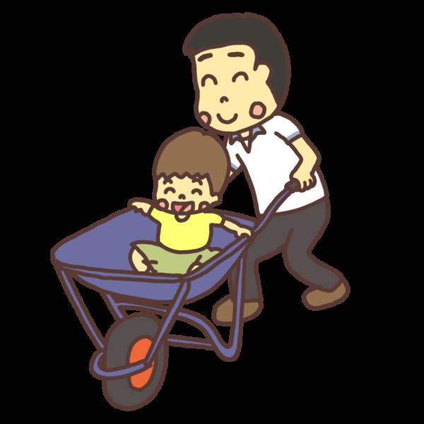 一輪車(猫車)で子どもを運ぶ大人のイラスト