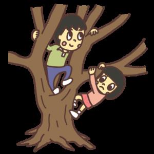 木登りをする子どものイラスト