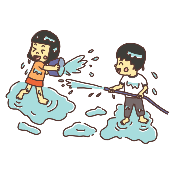 水をかけあって遊ぶ子どものイラスト