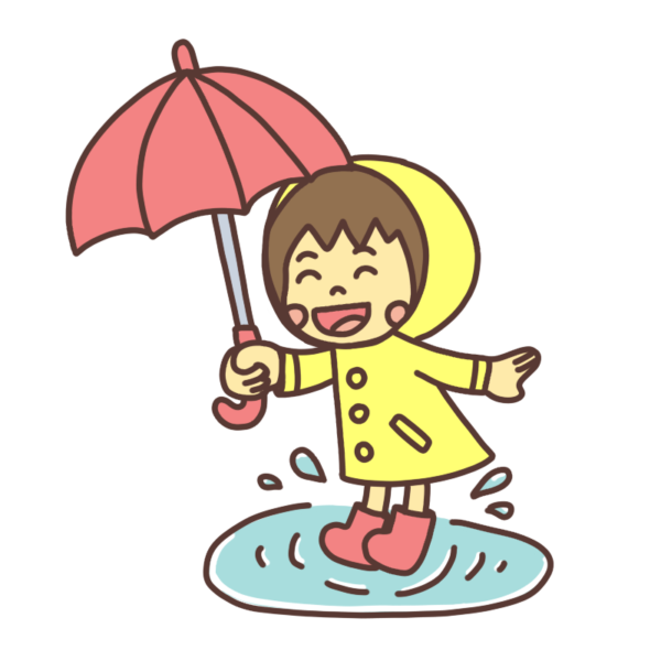 水溜まりで遊ぶ子どものイラスト