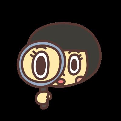 虫眼鏡を持つ女の子のイラスト