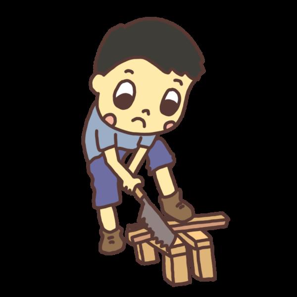 のこぎりで木を切る子どものイラスト