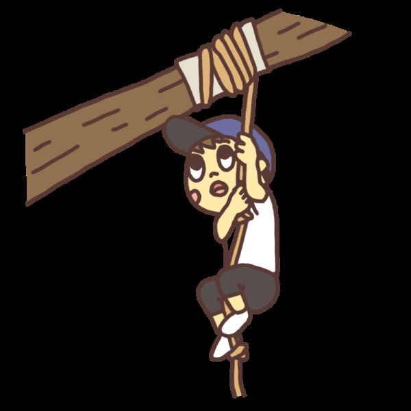 吊るされたロープを登る子どものイラスト