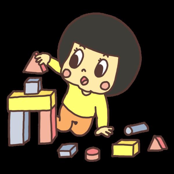 積み木で遊ぶ子どものイラスト