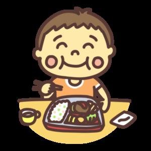 お弁当を食べる子どものイラスト