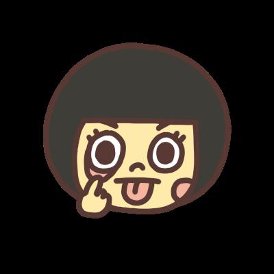 アッカンべーをする女の子のモノクロアイコンイラスト