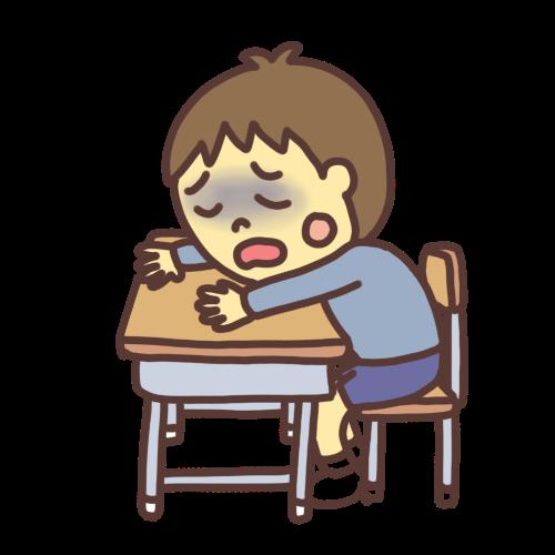 学校で具合が悪くなる子どものイラスト