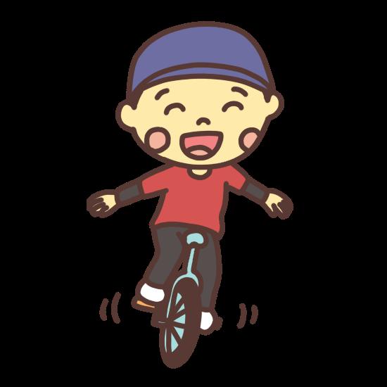 一輪車で遊ぶ子どものイラスト