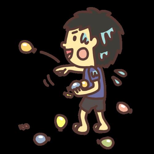 水風船を投げる男の子のイラスト