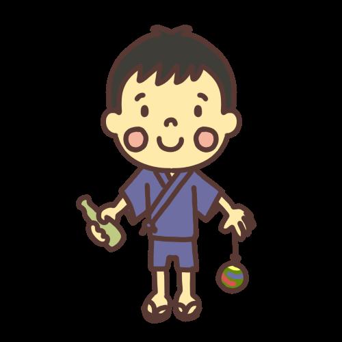 ラムネとヨーヨーを手に持った甚平を着た男の子のイラスト