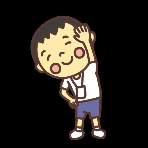 ラジオ体操をする小学生の男の子のイラスト