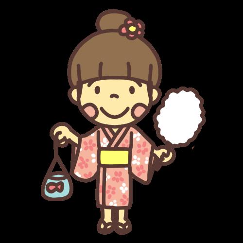 お祭りで金魚とわたあめを手に持った着物の女の子のイラスト