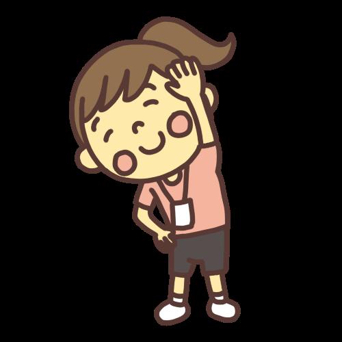 ラジオ体操をする小学生の女の子のイラスト