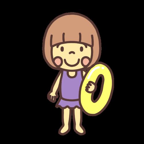 水着を着て浮き輪を持ったかわいい女の子のイラスト