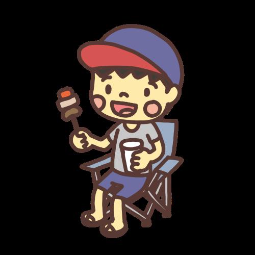 バーベキューで串に刺した肉を食べる男の子のイラスト