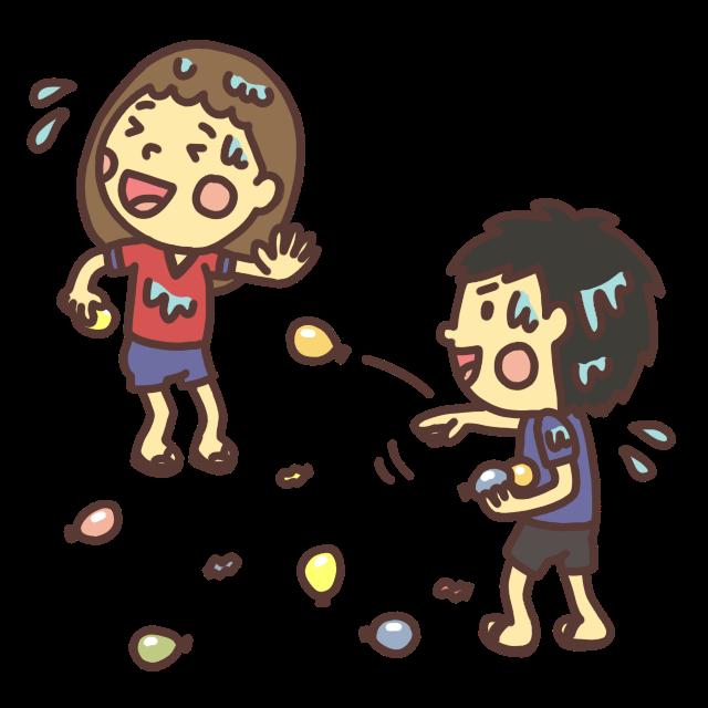 水風船を投げ合って遊ぶ子どものイラスト