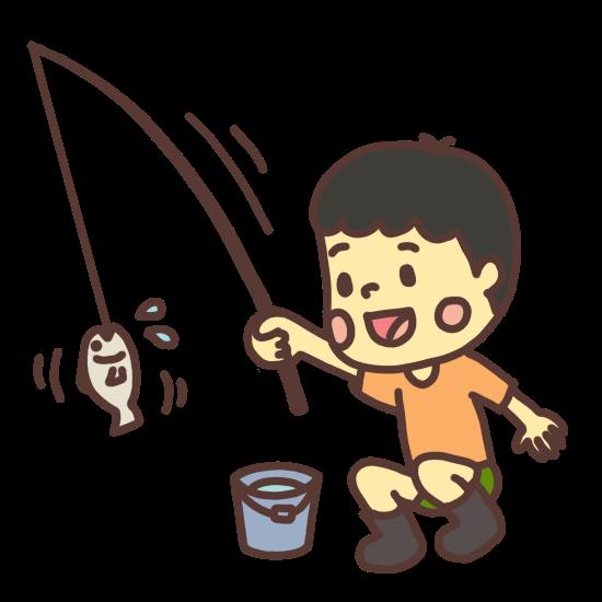 魚を釣る子どものイラスト
