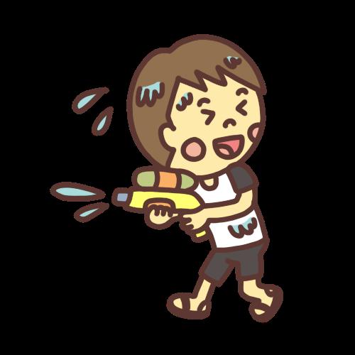 水鉄砲で遊ぶ男の子のイラスト