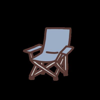 青い折り畳み椅子のイラスト