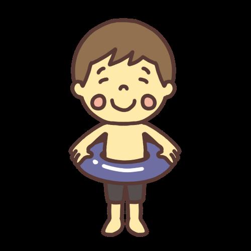 水着を着た小学生の男の子のイラスト