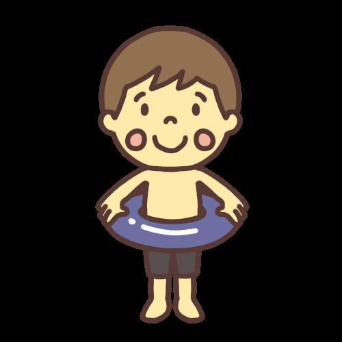 水着を着て浮き輪を持ったかわいい男の子