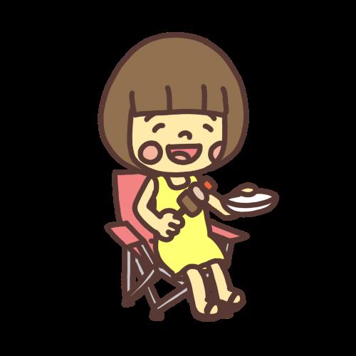 バーベキューで串に刺した肉を食べる女の子のイラスト