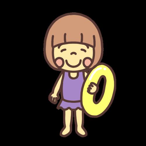 水着を着た小学生の女の子のイラスト