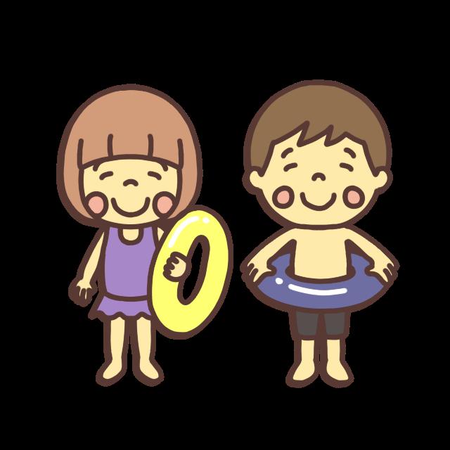 水着を着た小学生の子どものイラスト