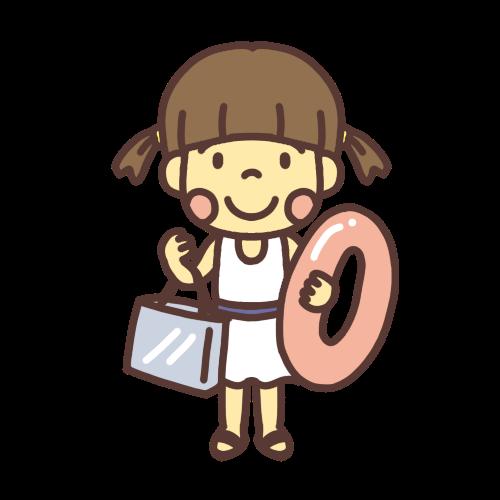 プールに遊びに行く小学生の女の子のイラスト
