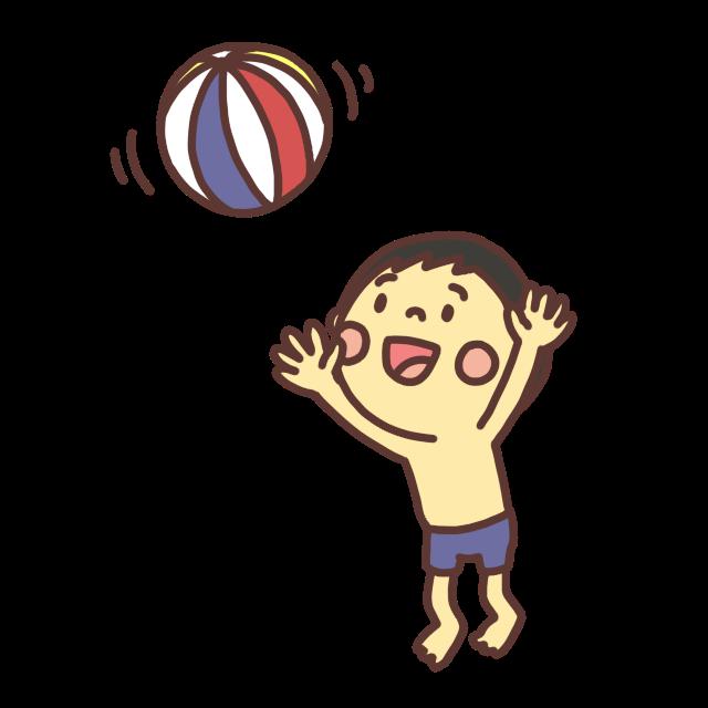ビーチボールで遊ぶ子どものイラスト