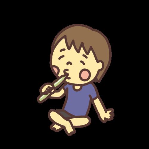 チューチューアイスを食べる子どものイラスト