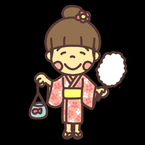 浴衣を着た小学生の女の子のイラストです。