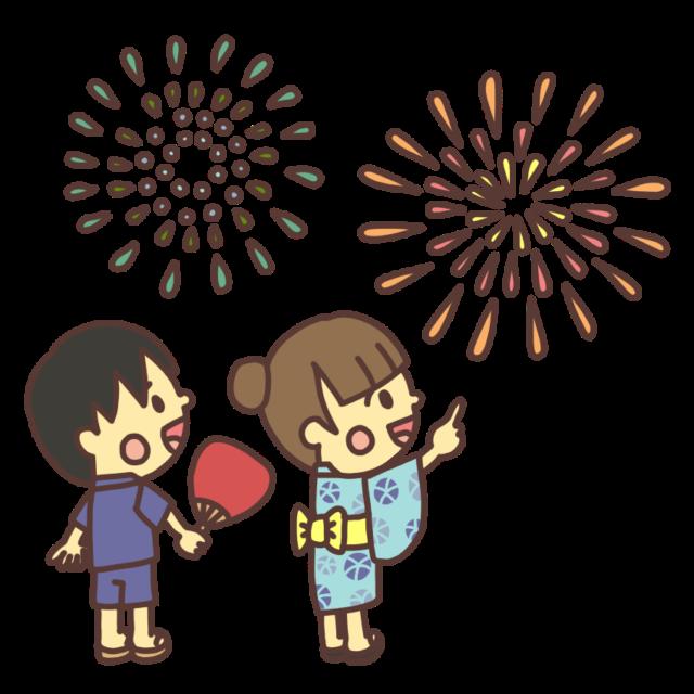 打ち上げ花火を見上げる子どものイラスト