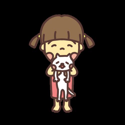 猫を抱っこする子どものイラスト