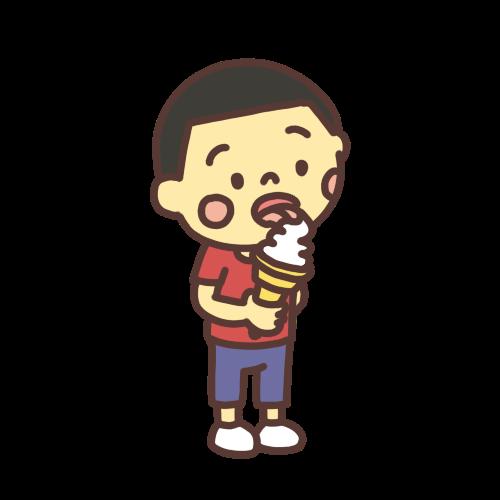 ソフトクリームを舐める男の子のイラスト