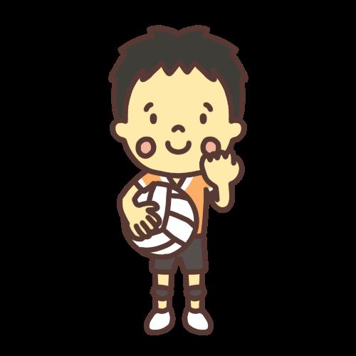 バレーボールをする男の子のイラスト