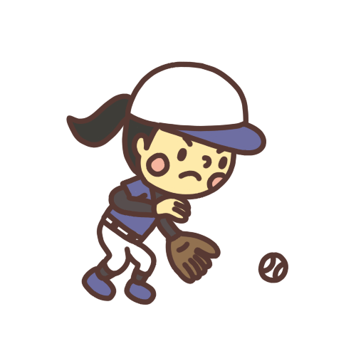 野球の試合でボールを取る子どものイラスト