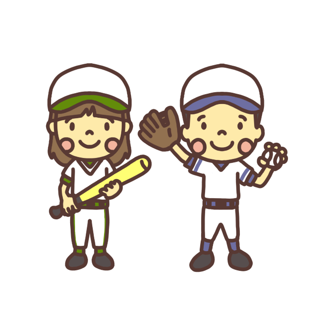 野球をする小学生のイラスト