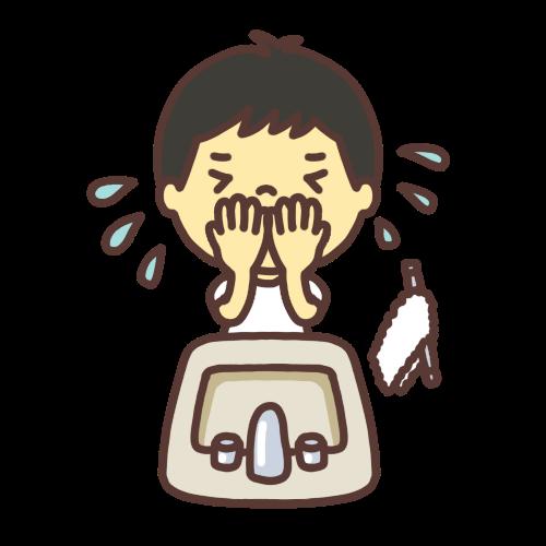 顔を洗う子どものイラスト
