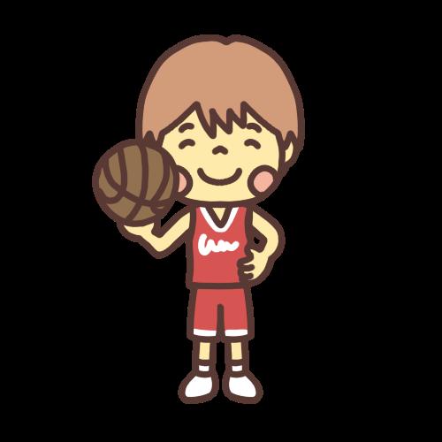 バスケットボールを持つ男の子のイラスト