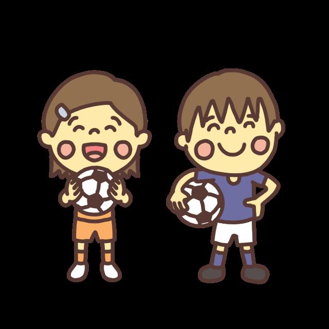 サッカーをする小学生のイラスト
