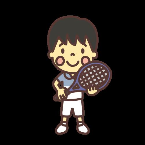 テニスのユニフォームを着た男子小学生のイラスト