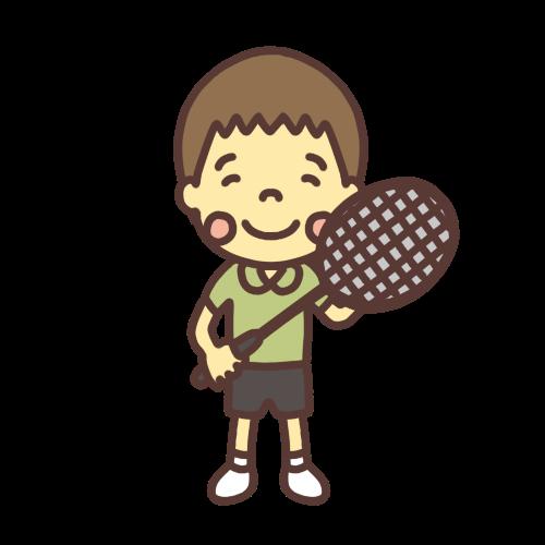 バドミントンをする小学生の男の子のイラスト