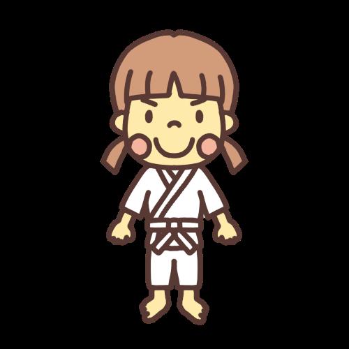 柔道小学生女子のイラスト