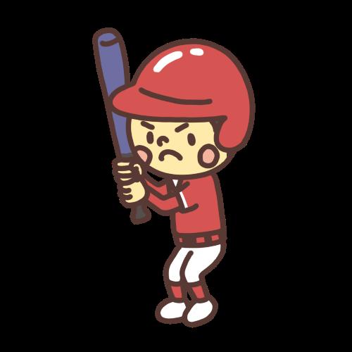 野球でバッターボックスに立つ子どものイラスト